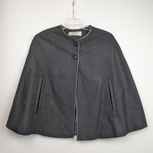 Zara Basic Black Poncho Cape with Lining Small